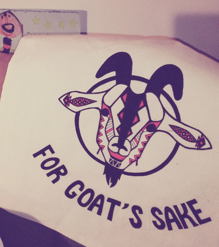 O. Carol sac en tissu customisé peint à la main for goat's sake