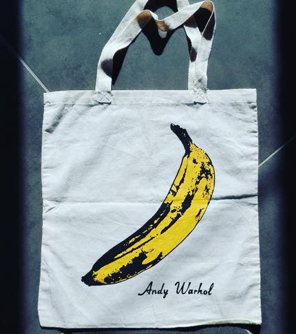 O. Carol sac en tissu customisé peint à la main banane d'Andy Warhol Velvet Underground