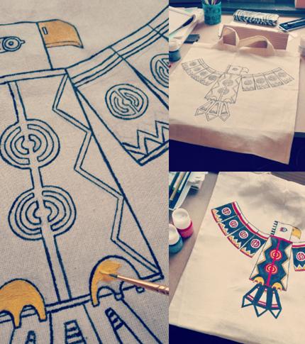 O. Carol sac en tissu customisé peint à la main aigle couleurs motifs géométriques work in progress