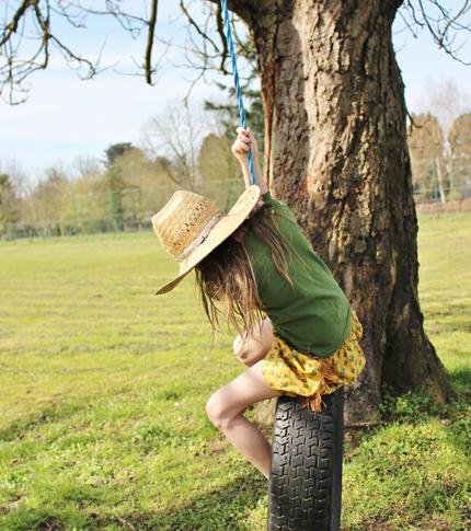 O. Carol jupe enfant à motif cactus et franges style western idéale pour jouer dehors