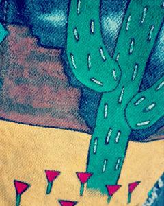 O. carol veste en jeans peinture textile customisation détail cactus désert