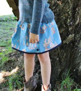 O. Carol jupe bleue motif Blanche-Neige et les 7 nains