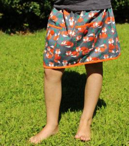 O. Carol jupe renard orange et gris avec poches