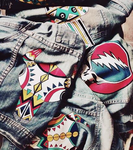 O. Carol vestes en jeans customisation peintes à la main original bison logo motifs géométriques