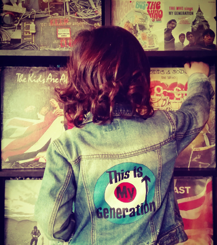 O. Carol veste en jeans pour enfant unisexe customisation peinte à la main motif The Who This Is My Generation unique rock'n'oll