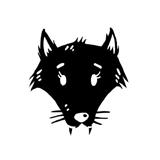 logo O. Carol clothing tête de loup noir sur fond blanc négatif