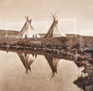 Village teepees Edward S. Curtis. The North American Indian