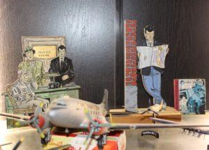 Atelier de Geoge Van Linthout, sa vitrine, Lou Smog, maquettes